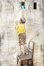 Reaching up mural by ernest zacharevic georgetown malaysia Royalty Free Stock Image