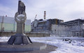 Reactor #4 and the Chernobyl Monument Stock Photos