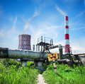 Reactor nuclear and smoke stack in afternoon Stock Image