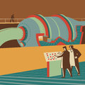 Reactor scientists controlling a large retro illustration Stock Images