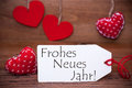 Read Hearts, Label, Frohes Neues Jahr Means Happy New Year Royalty Free Stock Photo