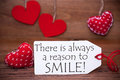 Read Hearts, Label, Quote Always A Reason To Smile Royalty Free Stock Photo