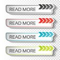Read more buttons with arrow pointer. Black, blue, red and green labels. Stickers with shadow on transparent background for busine