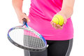 Readiness for the game of tennis, hand equipment Royalty Free Stock Photo