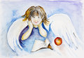 Reading angel boy a book on blue sky concept watercolor handmade art illustration Stock Photo