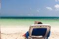 Reading on the beach Royalty Free Stock Photo