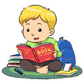 Reading a book boy sitting and vector eps file Royalty Free Stock Image