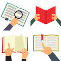 Reading book flat icon set Royalty Free Stock Photo