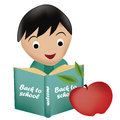 Reading a book happy boy blue with an apple Royalty Free Stock Image