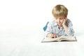 Kid Reading Book, Little Child Boy Read in School, lying down white floor