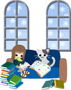 Reading books with a cat one day of white winter woman is many Royalty Free Stock Photography
