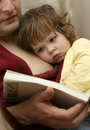 Reading with dad Royalty Free Stock Photo