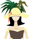 Reading on holidays vector illustration of a woman with floppy sun hat a book in shade under palms no gradients used isolated Stock Photography