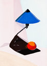 Reading lamp and orange still life with blue fruit Stock Images