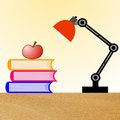 Reading lamp three books and apple on a table illustration Royalty Free Stock Images