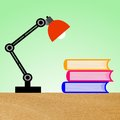 Reading lamp and three books on a table illustration Royalty Free Stock Photo