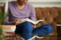 Reading manual man at home selective focus Stock Images
