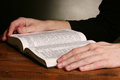 Reading open russian holy bible Royalty Free Stock Photo