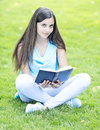 Reading outdoors summer woman a book and relaxing Royalty Free Stock Photos