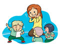 Reading a poem group of children studying literature with their teacher vector eps file Stock Photography