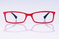 Reading red glasses Royalty Free Stock Photography