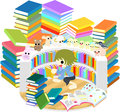 Reading room the child who enjoys among many books Royalty Free Stock Image