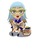 Reading it s exciting cute blue haired girlholding a large book on her knees Stock Photo