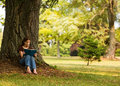 Reading in the Shade Royalty Free Stock Photo