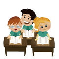 Reading some books three kids in the school Royalty Free Stock Images