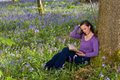 Reading among wildflowers attractive young woman millions of bluebells Royalty Free Stock Photos
