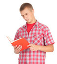 Reading young male student with book Stock Images