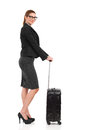 Ready for business trip elegance woman with black suitcase full length studio shot on white Royalty Free Stock Photo