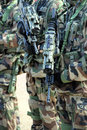 Ready for combat close up of a soldier with a gun Royalty Free Stock Photography