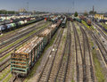 Ready for delivery freight wagons Classification yard of Russian Royalty Free Stock Photo