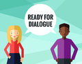 Ready for dialogue background and card with blonde young woman african american young man in vector Stock Photos