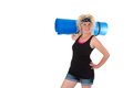 Ready for exercises young fitness woman with exercise mat isolated Stock Photo