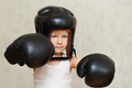 Ready for fighting boxer child Stock Photos