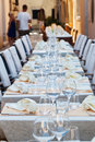 Ready laid tables of an outdoor restaurant Royalty Free Stock Photo