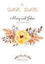 Ready-made beautiful wedding card of yellow flowers and leaves Royalty Free Stock Photo