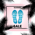 Ready-made design `Sale` with palm branches and flip flops. Vector illustration for shops. Business and shopping. Summer.