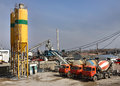 Ready Mix Concrete Batching Plant, Truck mixer. Royalty Free Stock Photo