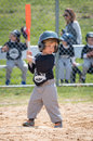 Ready for the pitch young boy standing in batters box pitcher to deliver ball Royalty Free Stock Photos