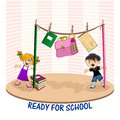 Ready for school stuff hanging on a rope between pencils and cartoon kids Stock Images