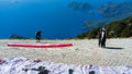 Ready for take off paragliders preparing to lauch from babadag mountain olu deniz turkey Royalty Free Stock Photo