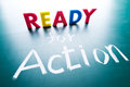 Ready to action conceptual words on blackboard Royalty Free Stock Photos