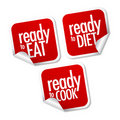 Ready to eat, diet and cook stickers Stock Photography