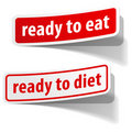 Ready to eat and diet stickers set Stock Photography