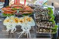 Ready to eat seafood on the beach Stock Images