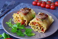 Ready to eat vegetarian lasagna in rolls with mushrooms, paprika, olives, tomato sauce on a brown ceramic plate. Healthy Royalty Free Stock Photo