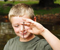 Ready to Fish/Boy and Worm Royalty Free Stock Photo